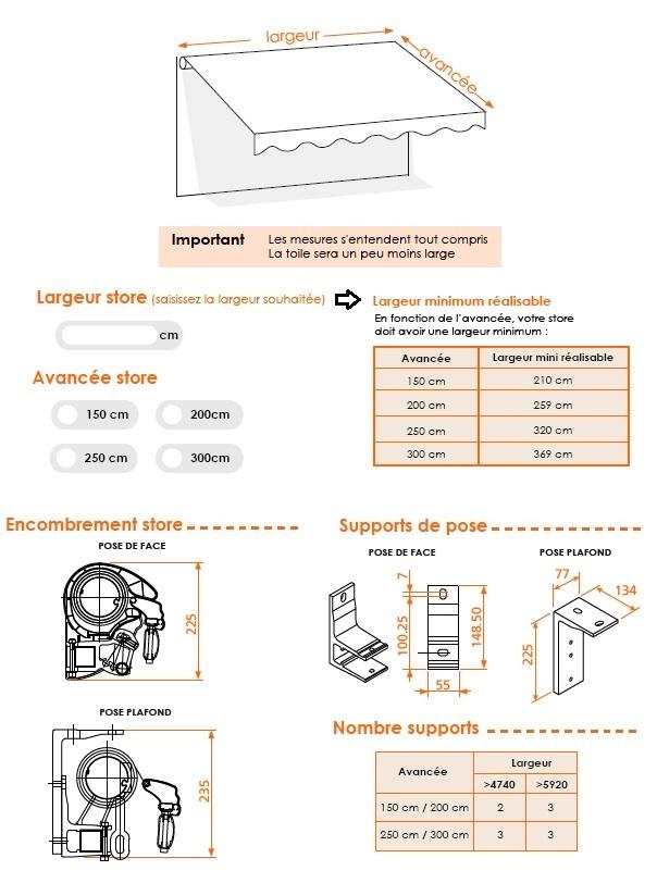 dimensions store banne semi coffre