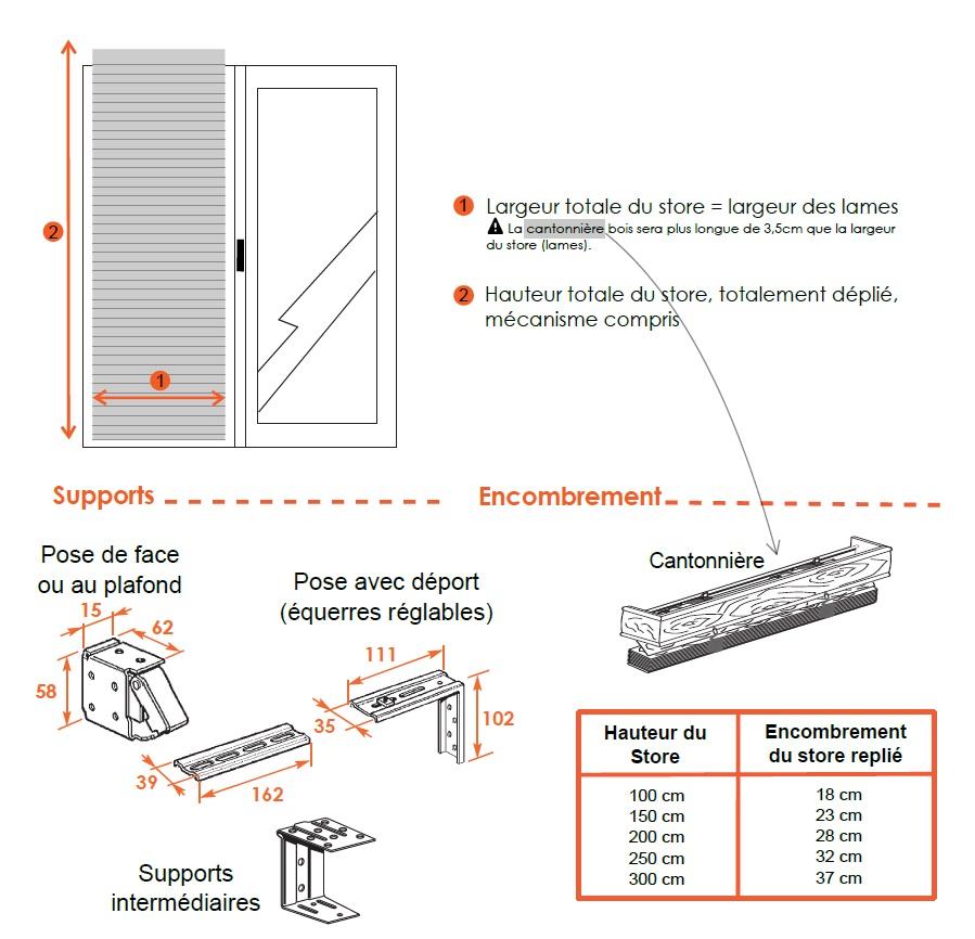 dimensions vénitien bois 50 mm