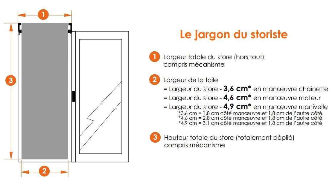 dimensions store enrouleur XL
