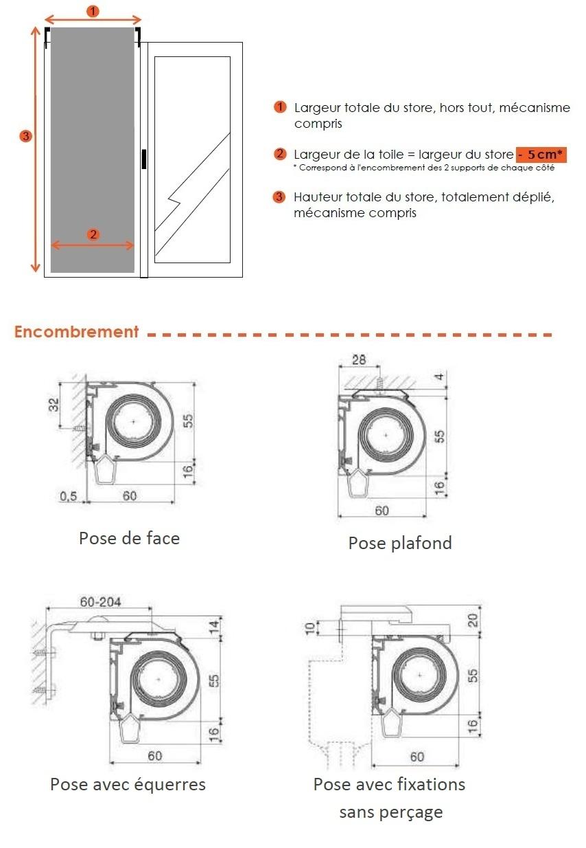 dimensions store enrouleur anti chaleur